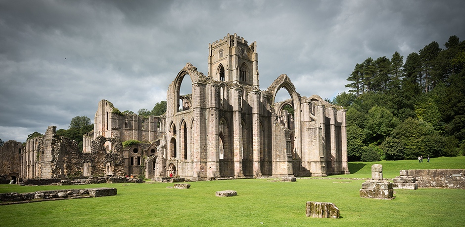 The tranquil Fountains Abbey, Ripon